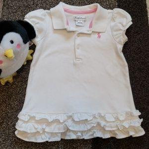Ralph Lauren Baby Dress White Frill Cap Sleeve